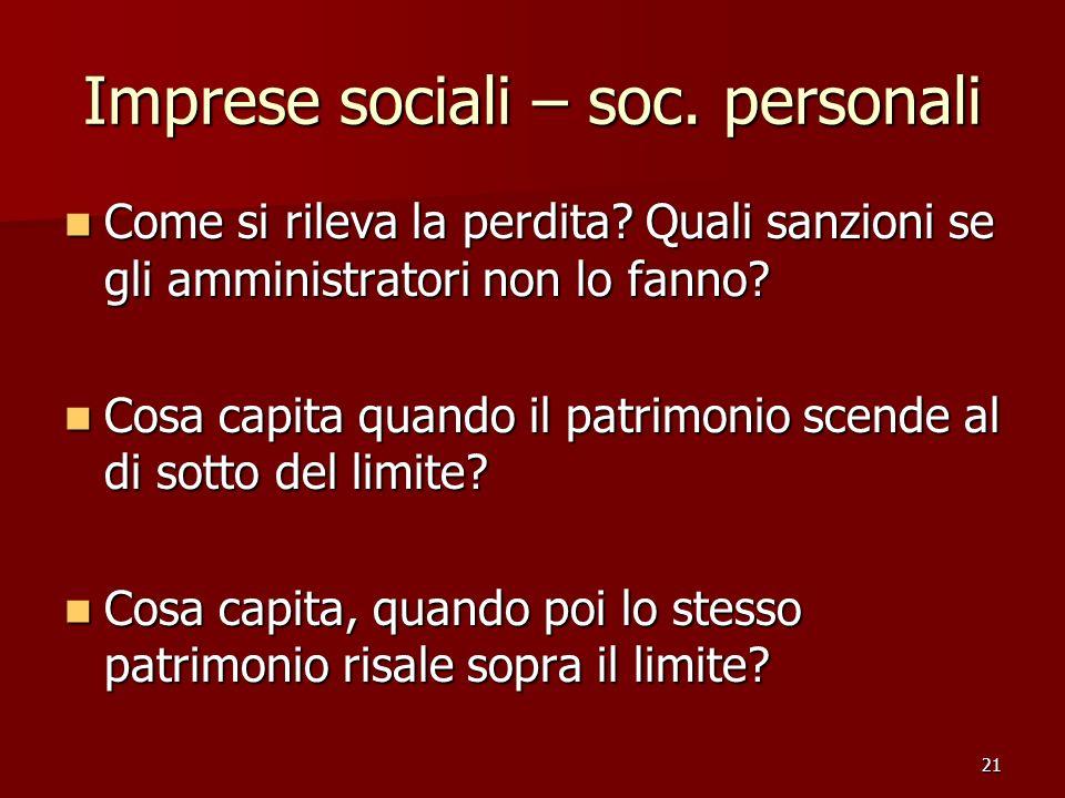 Imprese sociali – soc. personali