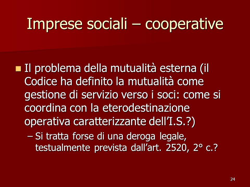 Imprese sociali – cooperative
