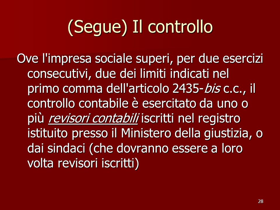 (Segue) Il controllo