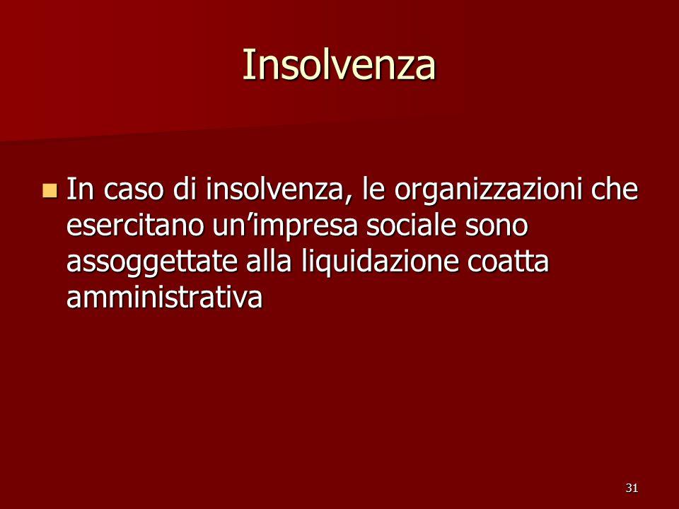 Insolvenza In caso di insolvenza, le organizzazioni che esercitano un'impresa sociale sono assoggettate alla liquidazione coatta amministrativa.