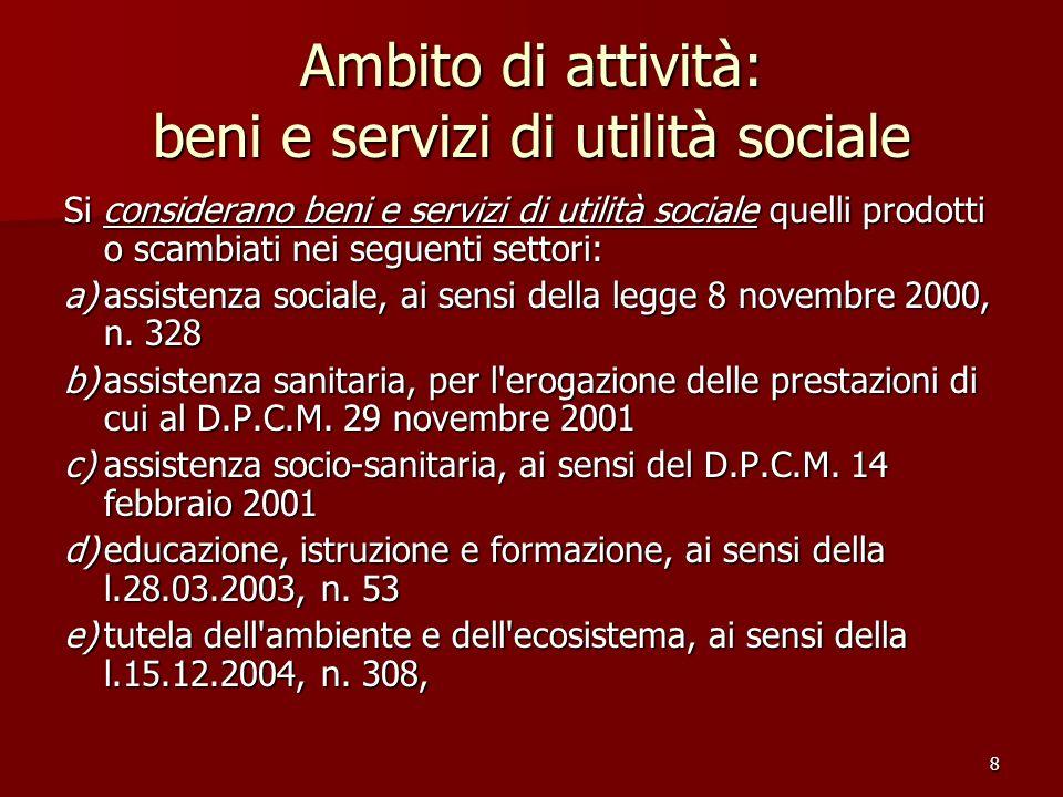 Ambito di attività: beni e servizi di utilità sociale