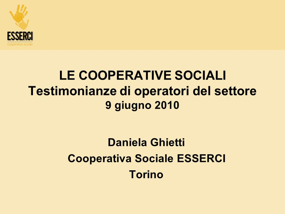 Daniela Ghietti Cooperativa Sociale ESSERCI Torino