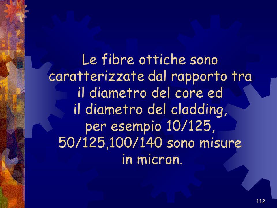 Le fibre ottiche sono caratterizzate dal rapporto tra il diametro del core ed il diametro del cladding, per esempio 10/125, 50/125,100/140 sono misure in micron.