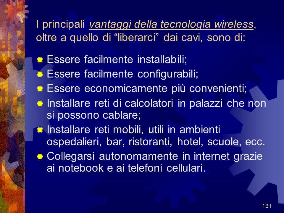 I principali vantaggi della tecnologia wireless, oltre a quello di liberarci dai cavi, sono di: