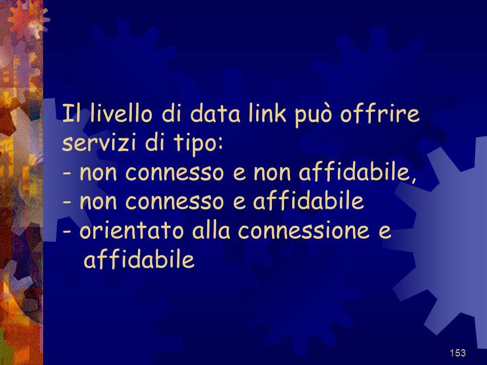 Il livello di data link può offrire servizi di tipo: - non connesso e non affidabile, - non connesso e affidabile - orientato alla connessione e affidabile