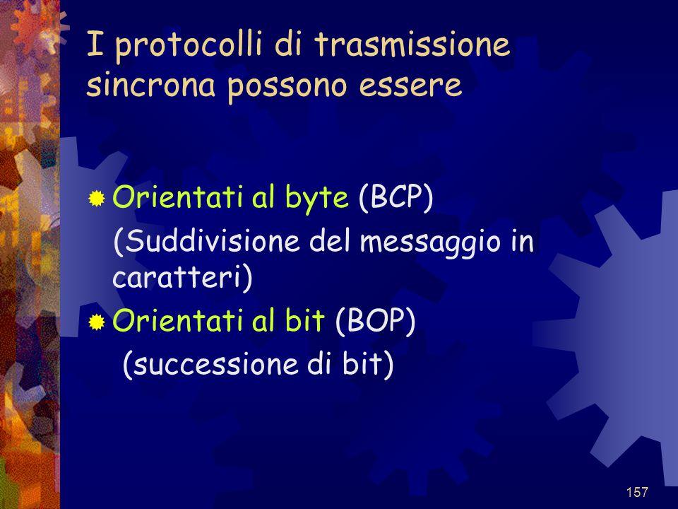 I protocolli di trasmissione sincrona possono essere
