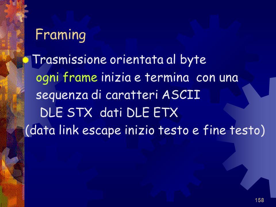 Framing Trasmissione orientata al byte