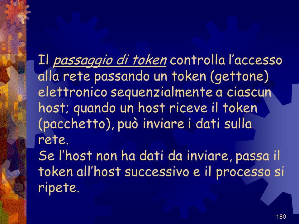 Il passaggio di token controlla l'accesso alla rete passando un token (gettone) elettronico sequenzialmente a ciascun host; quando un host riceve il token (pacchetto), può inviare i dati sulla rete.