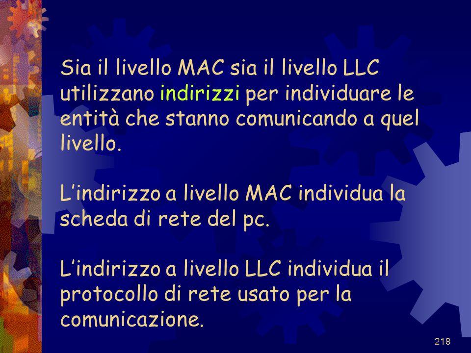 Sia il livello MAC sia il livello LLC utilizzano indirizzi per individuare le entità che stanno comunicando a quel livello.