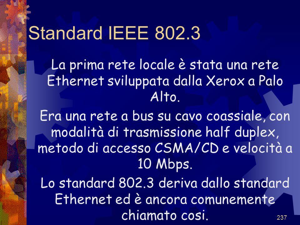 Standard IEEE 802.3 La prima rete locale è stata una rete Ethernet sviluppata dalla Xerox a Palo Alto.