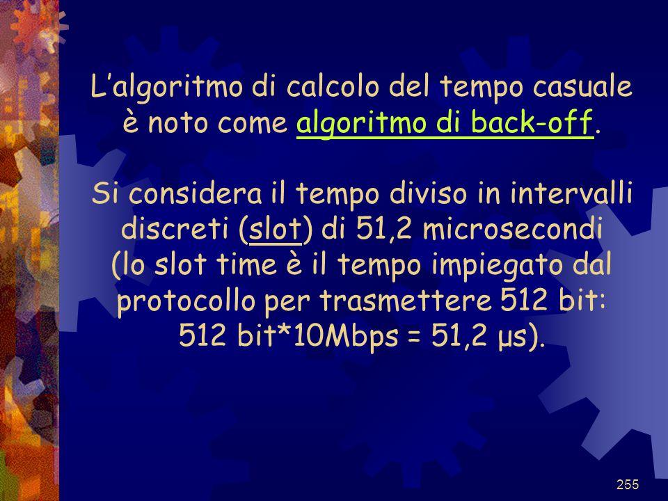 L'algoritmo di calcolo del tempo casuale è noto come algoritmo di back-off.