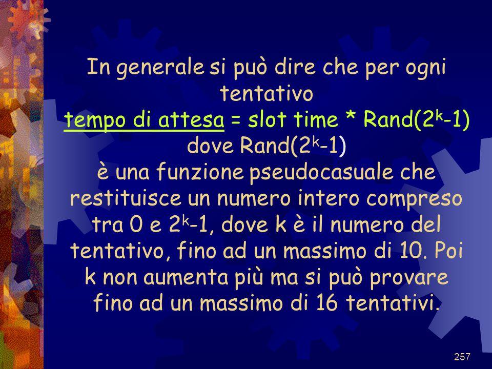 In generale si può dire che per ogni tentativo tempo di attesa = slot time * Rand(2k-1) dove Rand(2k-1) è una funzione pseudocasuale che restituisce un numero intero compreso tra 0 e 2k-1, dove k è il numero del tentativo, fino ad un massimo di 10.