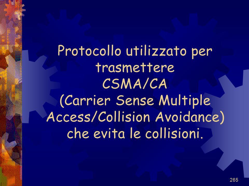 Protocollo utilizzato per trasmettere CSMA/CA (Carrier Sense Multiple Access/Collision Avoidance) che evita le collisioni.