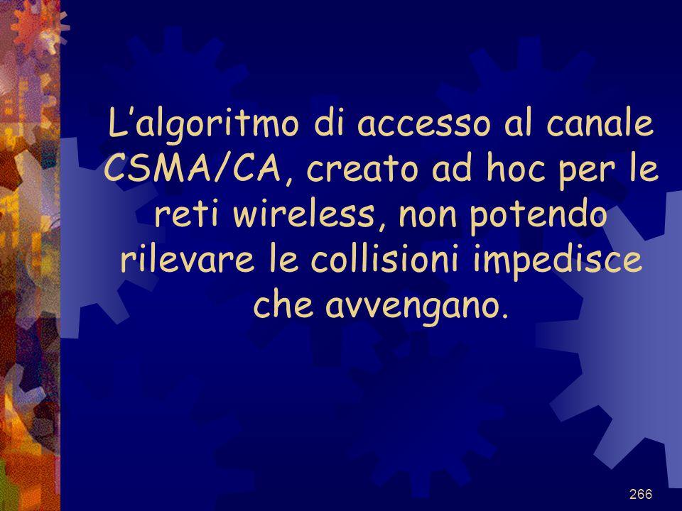 L'algoritmo di accesso al canale CSMA/CA, creato ad hoc per le reti wireless, non potendo rilevare le collisioni impedisce che avvengano.