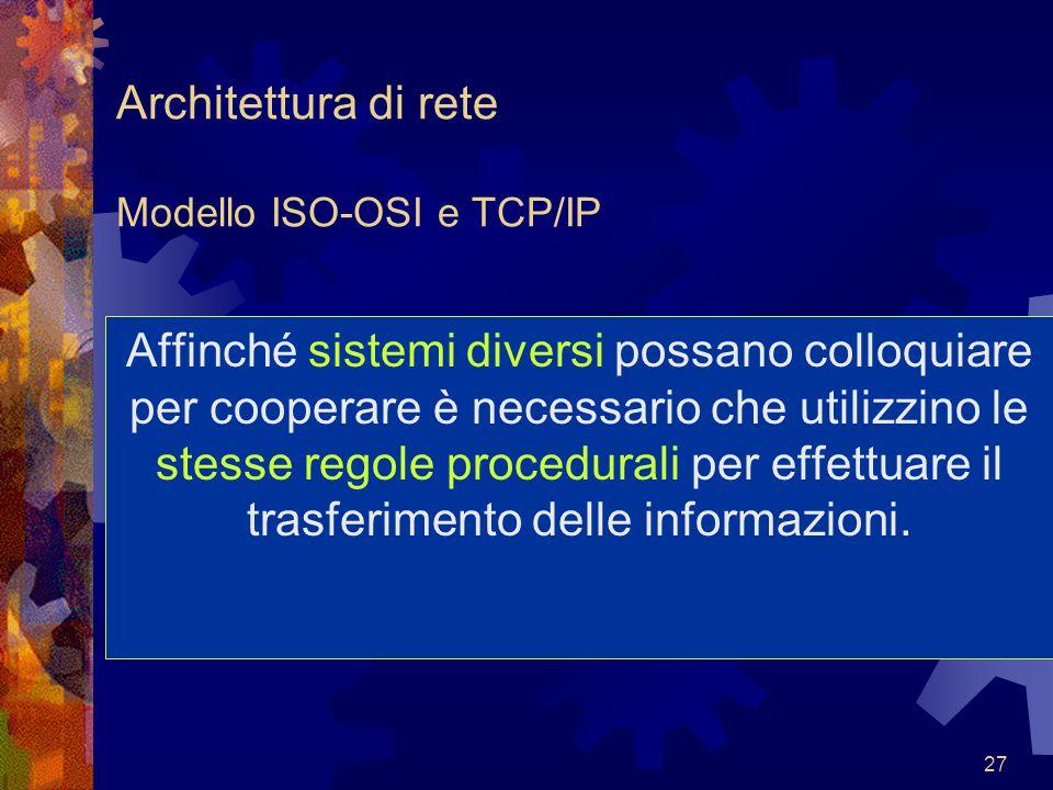 Architettura di rete Modello ISO-OSI e TCP/IP