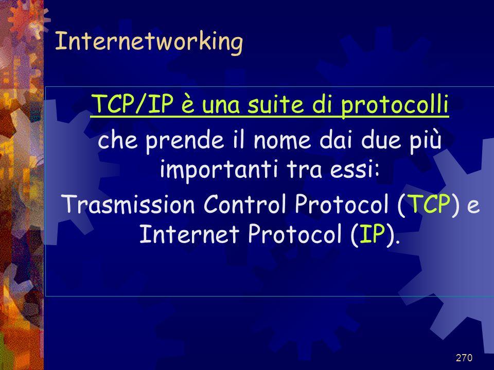 TCP/IP è una suite di protocolli