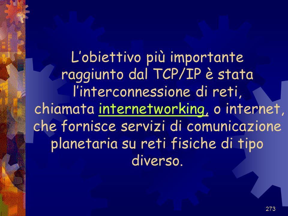 L'obiettivo più importante raggiunto dal TCP/IP è stata l'interconnessione di reti, chiamata internetworking, o internet, che fornisce servizi di comunicazione planetaria su reti fisiche di tipo diverso.
