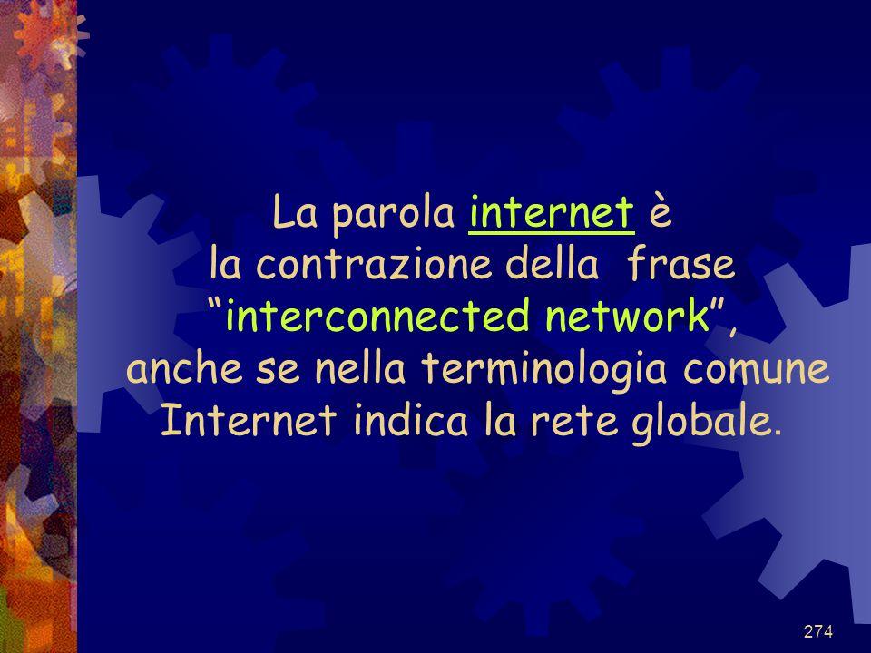La parola internet è la contrazione della frase interconnected network , anche se nella terminologia comune Internet indica la rete globale.