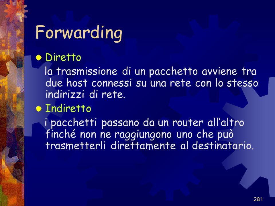 Forwarding Diretto. la trasmissione di un pacchetto avviene tra due host connessi su una rete con lo stesso indirizzi di rete.