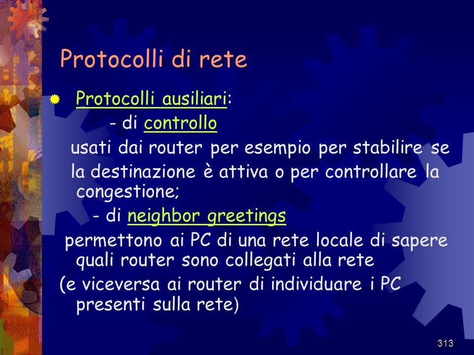 Protocolli di rete Protocolli ausiliari: - di controllo