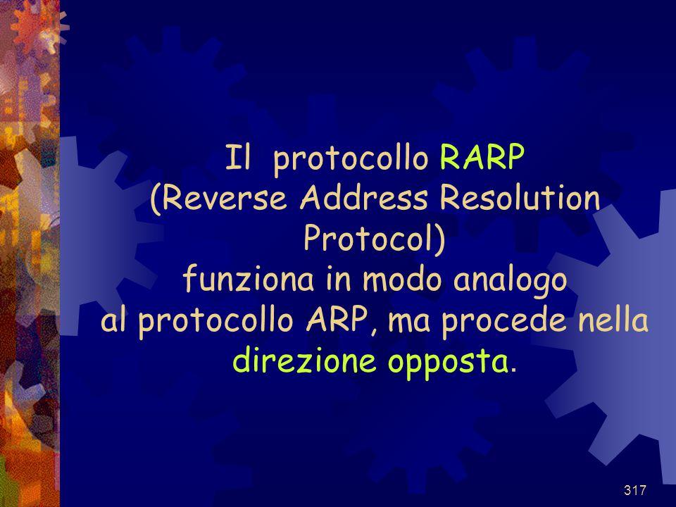Il protocollo RARP (Reverse Address Resolution Protocol) funziona in modo analogo al protocollo ARP, ma procede nella direzione opposta.