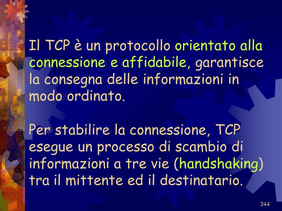 Il TCP è un protocollo orientato alla connessione e affidabile, garantisce la consegna delle informazioni in modo ordinato.