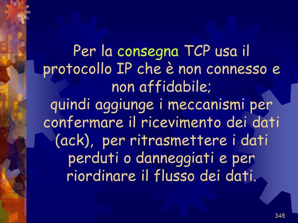 Per la consegna TCP usa il protocollo IP che è non connesso e non affidabile; quindi aggiunge i meccanismi per confermare il ricevimento dei dati (ack), per ritrasmettere i dati perduti o danneggiati e per riordinare il flusso dei dati.