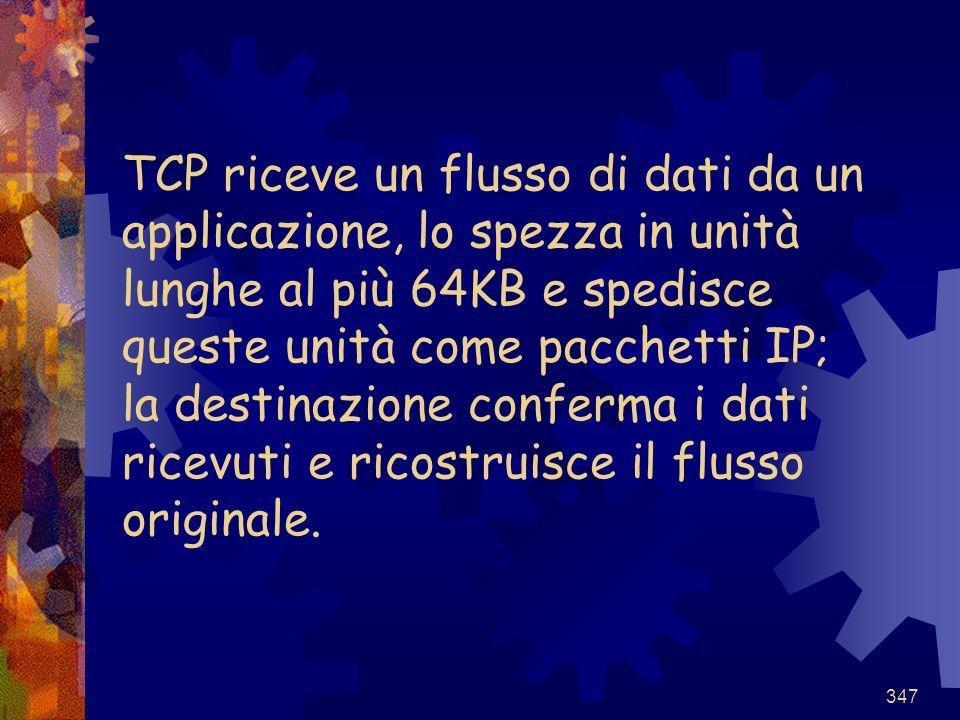 TCP riceve un flusso di dati da un applicazione, lo spezza in unità lunghe al più 64KB e spedisce queste unità come pacchetti IP; la destinazione conferma i dati ricevuti e ricostruisce il flusso originale.