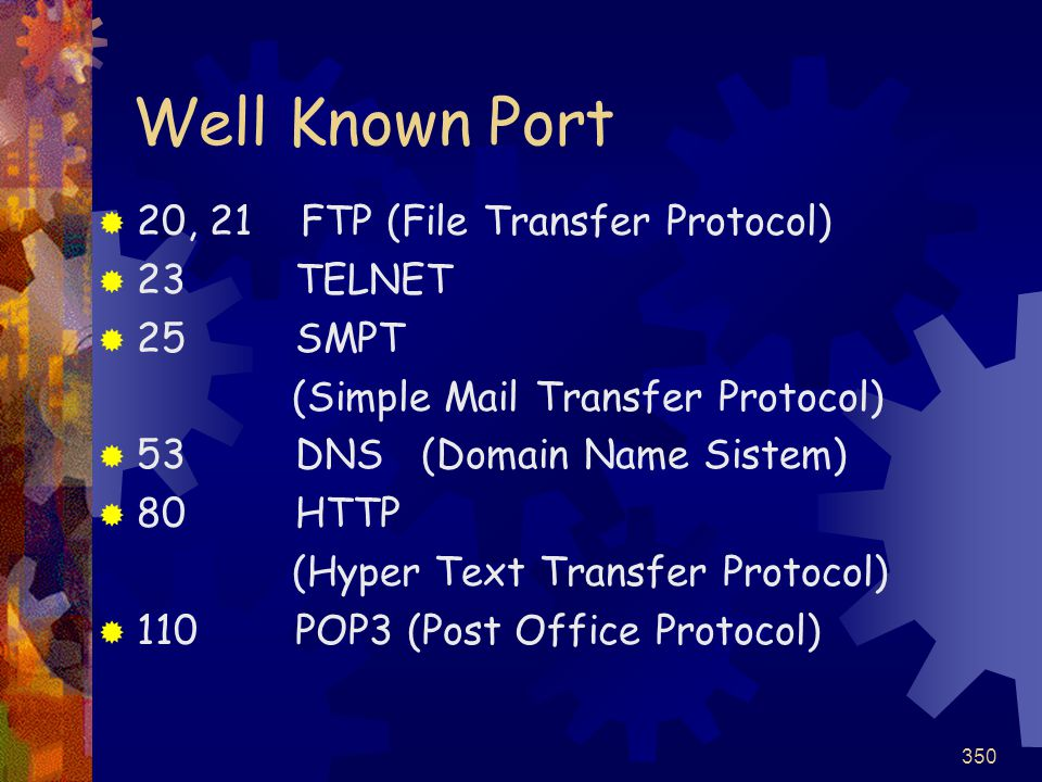 Well Known Port 20, 21 FTP (File Transfer Protocol) 23 TELNET 25 SMPT