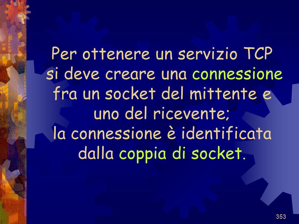 Per ottenere un servizio TCP si deve creare una connessione fra un socket del mittente e uno del ricevente; la connessione è identificata dalla coppia di socket.