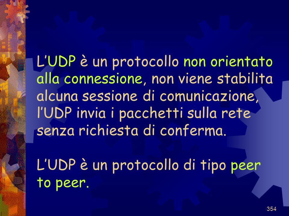 L'UDP è un protocollo non orientato alla connessione, non viene stabilita alcuna sessione di comunicazione, l'UDP invia i pacchetti sulla rete senza richiesta di conferma.