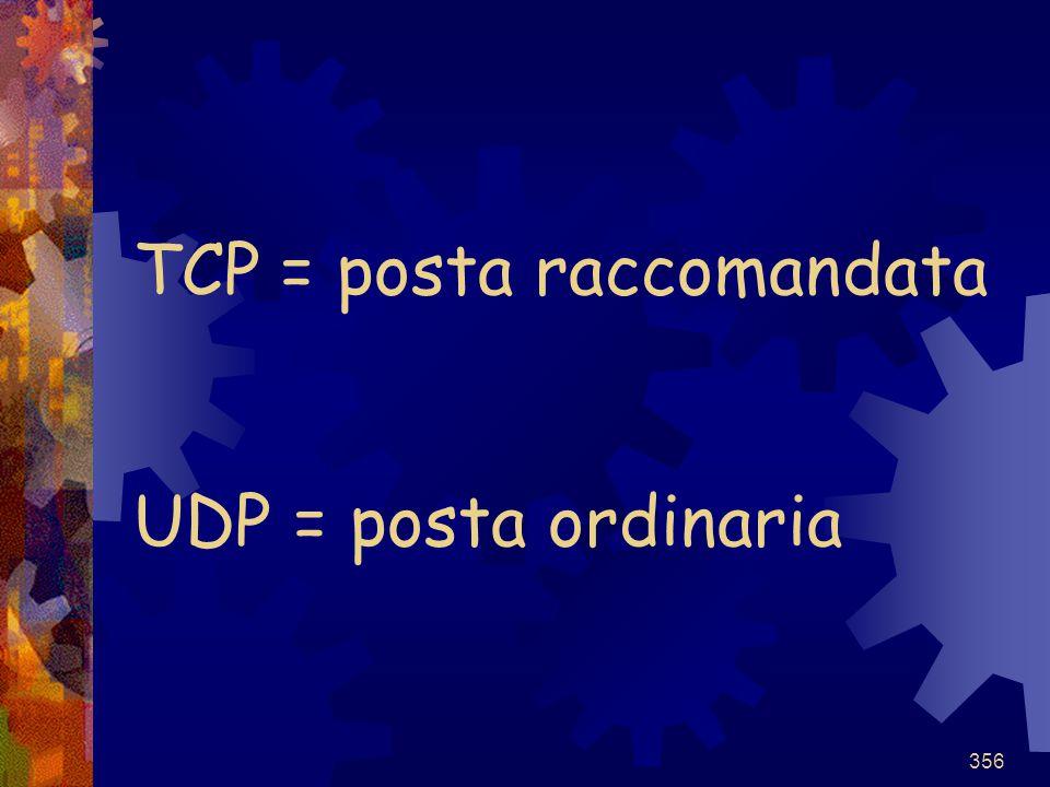 TCP = posta raccomandata UDP = posta ordinaria