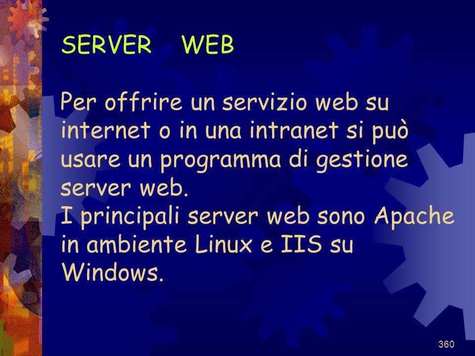 SERVER WEB Per offrire un servizio web su internet o in una intranet si può usare un programma di gestione server web.