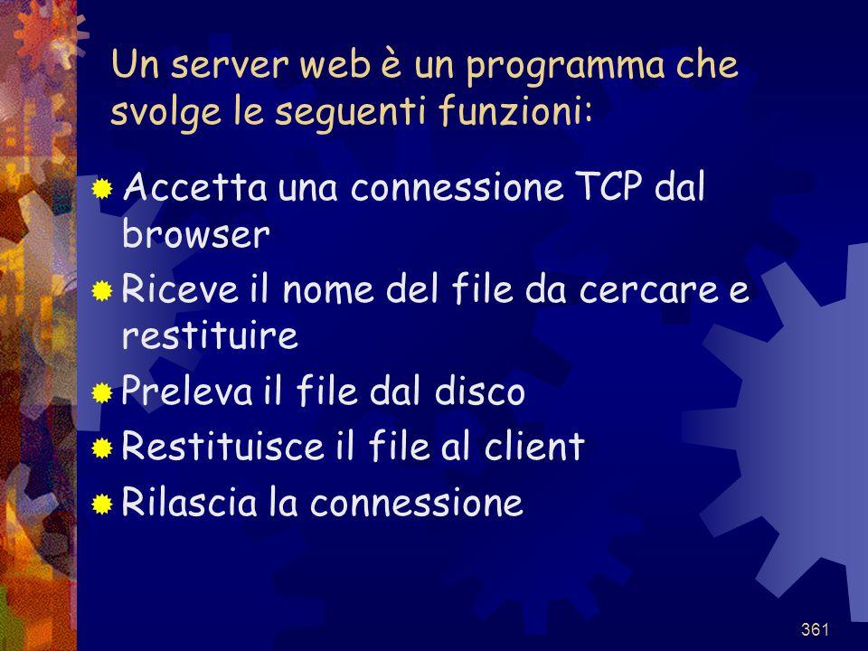 Un server web è un programma che svolge le seguenti funzioni:
