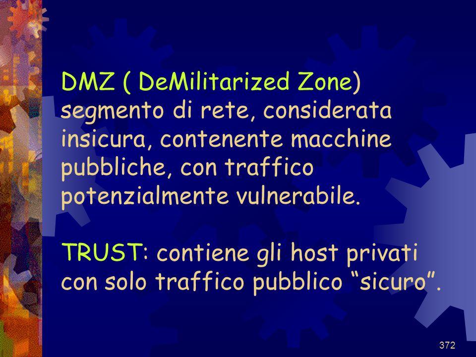 DMZ ( DeMilitarized Zone) segmento di rete, considerata insicura, contenente macchine pubbliche, con traffico potenzialmente vulnerabile.