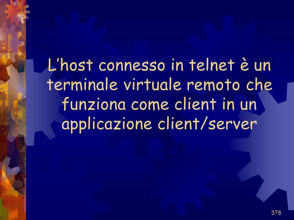 L'host connesso in telnet è un terminale virtuale remoto che funziona come client in un applicazione client/server