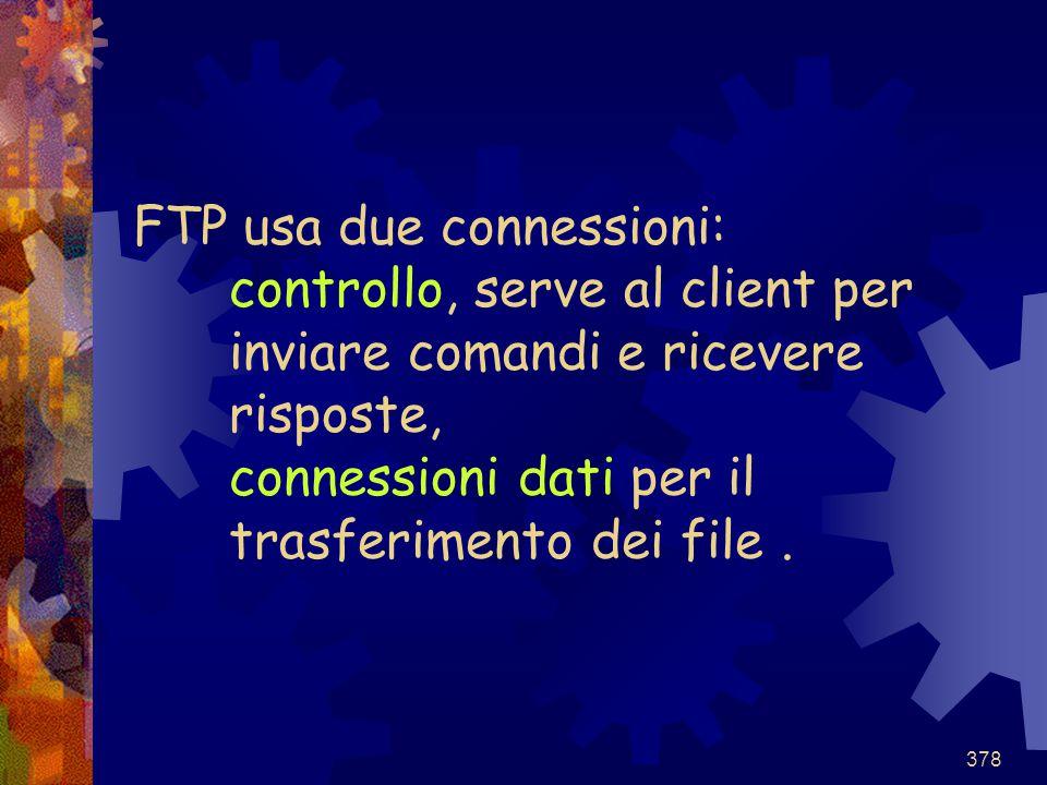FTP usa due connessioni: controllo, serve al client per inviare comandi e ricevere risposte, connessioni dati per il trasferimento dei file .