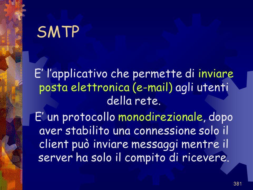 SMTP E' l'applicativo che permette di inviare posta elettronica (e-mail) agli utenti della rete.