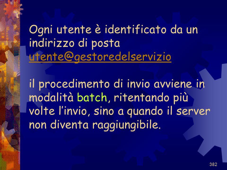 Ogni utente è identificato da un indirizzo di posta utente@gestoredelservizio il procedimento di invio avviene in modalità batch, ritentando più volte l'invio, sino a quando il server non diventa raggiungibile.