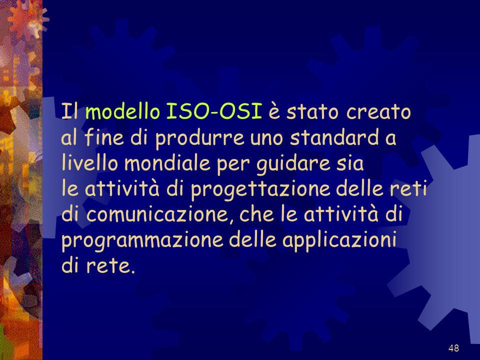 Il modello ISO-OSI è stato creato al fine di produrre uno standard a livello mondiale per guidare sia le attività di progettazione delle reti di comunicazione, che le attività di programmazione delle applicazioni di rete.