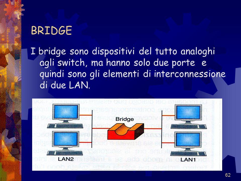 BRIDGE I bridge sono dispositivi del tutto analoghi agli switch, ma hanno solo due porte e quindi sono gli elementi di interconnessione di due LAN.