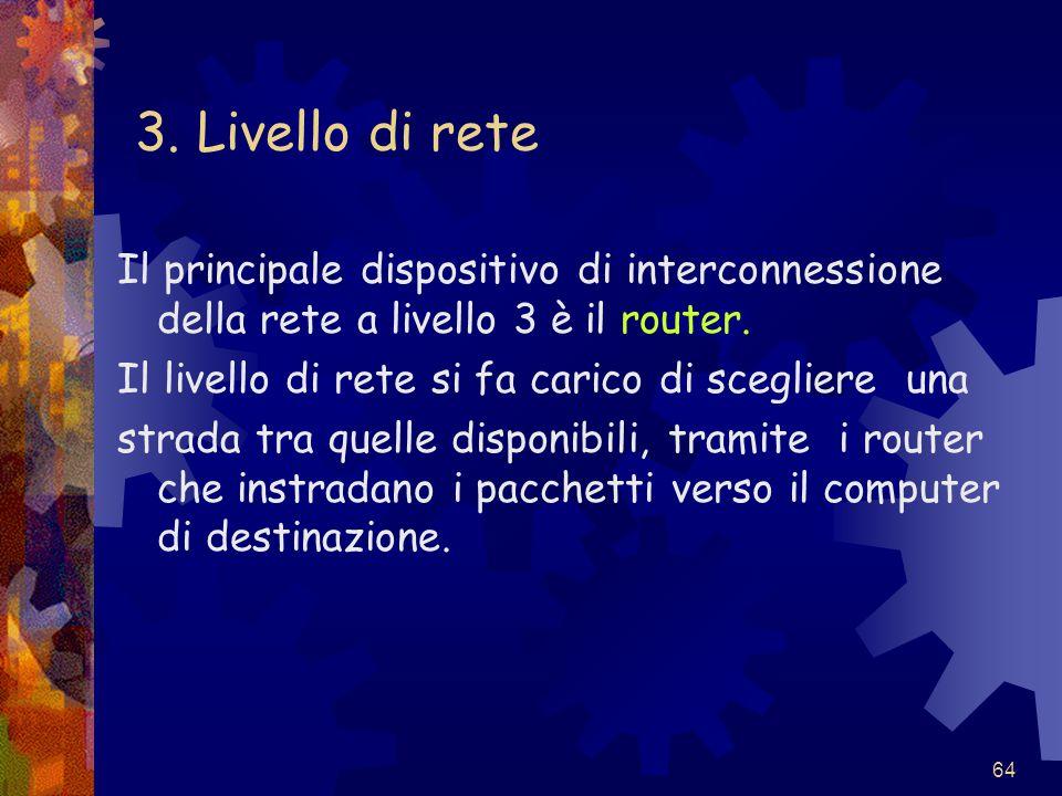 3. Livello di rete Il principale dispositivo di interconnessione della rete a livello 3 è il router.