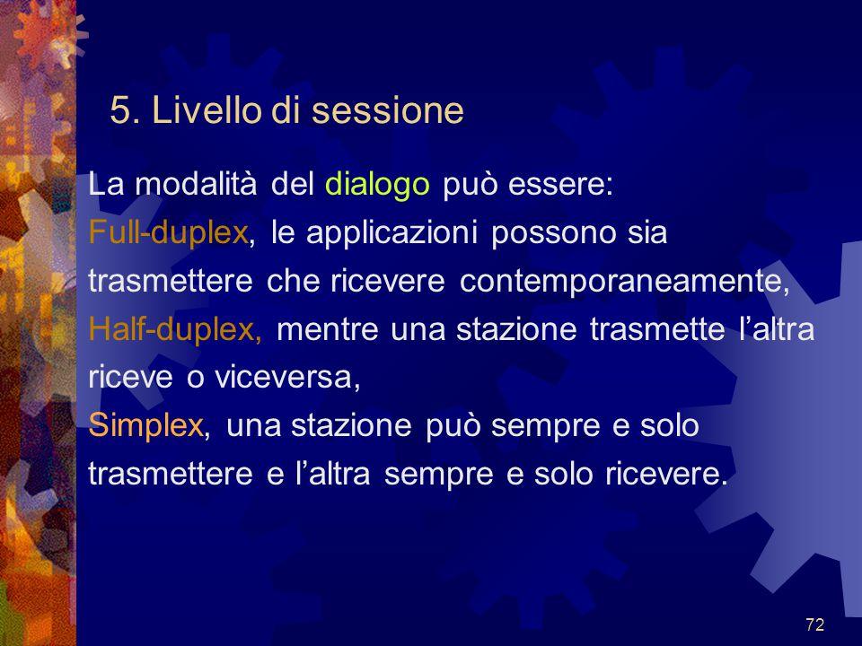 5. Livello di sessione La modalità del dialogo può essere: