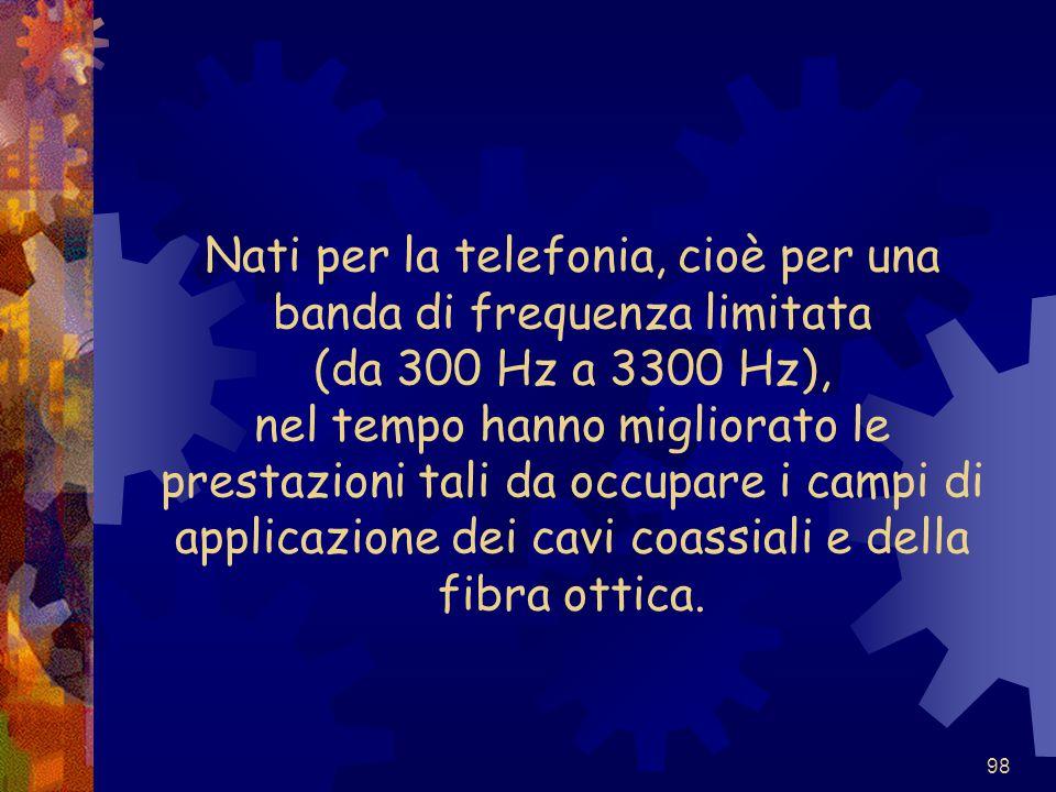 Nati per la telefonia, cioè per una banda di frequenza limitata (da 300 Hz a 3300 Hz), nel tempo hanno migliorato le prestazioni tali da occupare i campi di applicazione dei cavi coassiali e della fibra ottica.