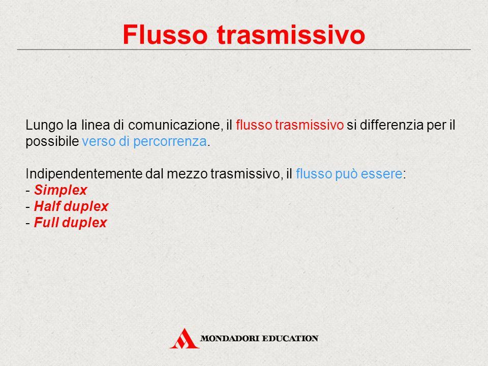 Flusso trasmissivo Lungo la linea di comunicazione, il flusso trasmissivo si differenzia per il possibile verso di percorrenza.