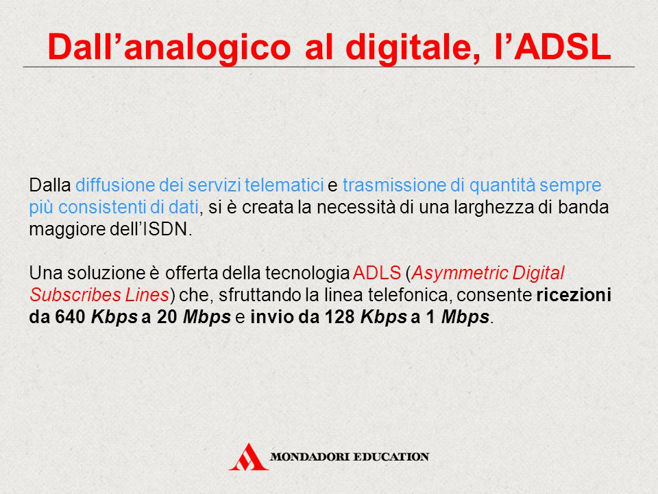 Dall'analogico al digitale, l'ADSL
