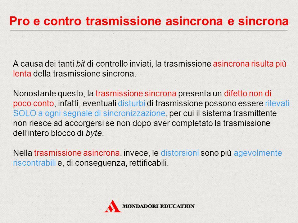 Pro e contro trasmissione asincrona e sincrona