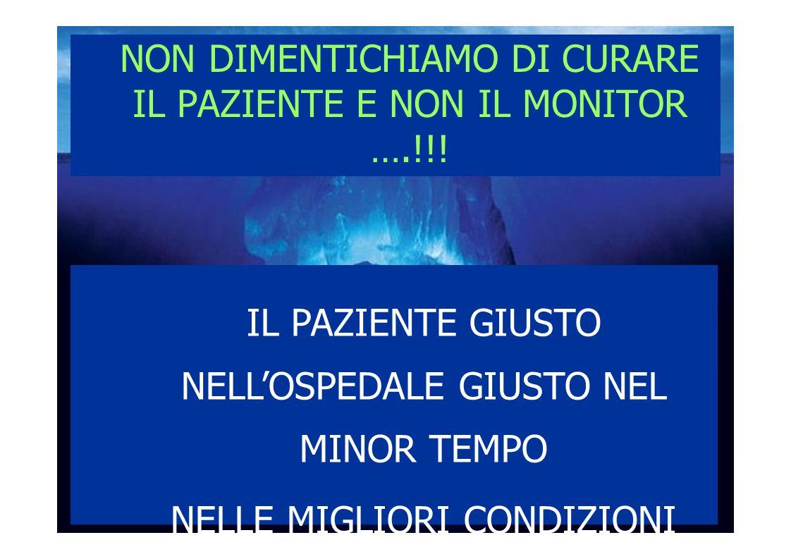 NON DIMENTICHIAMO DI CURARE IL PAZIENTE E NON IL MONITOR ….!!!