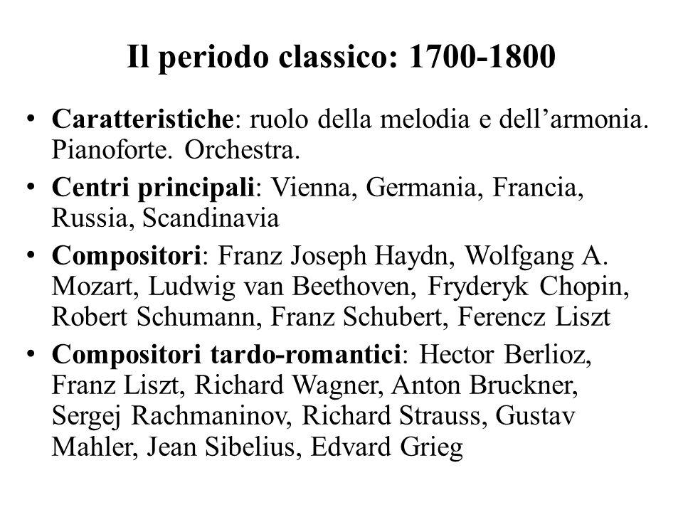 Il periodo classico: 1700-1800 Caratteristiche: ruolo della melodia e dell'armonia. Pianoforte. Orchestra.
