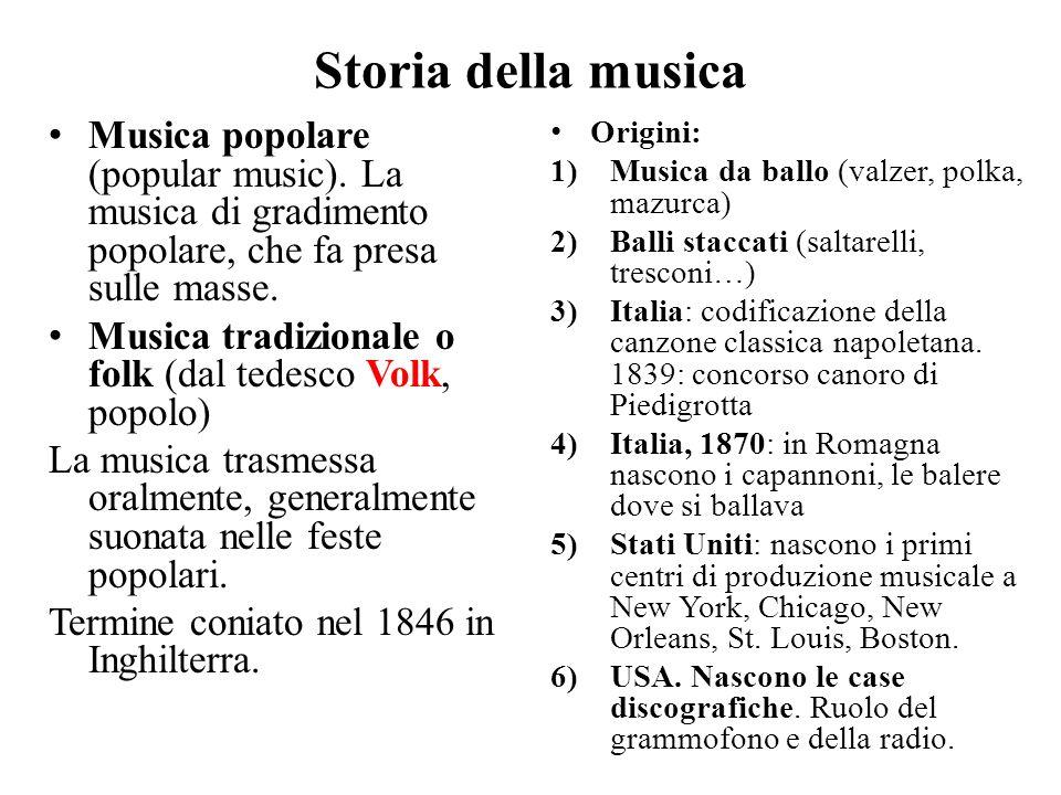 Storia della musica Musica popolare (popular music). La musica di gradimento popolare, che fa presa sulle masse.